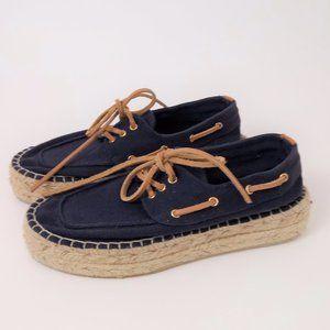 Tory Burch 6 Canvas Espadrille Platform Boat Shoes